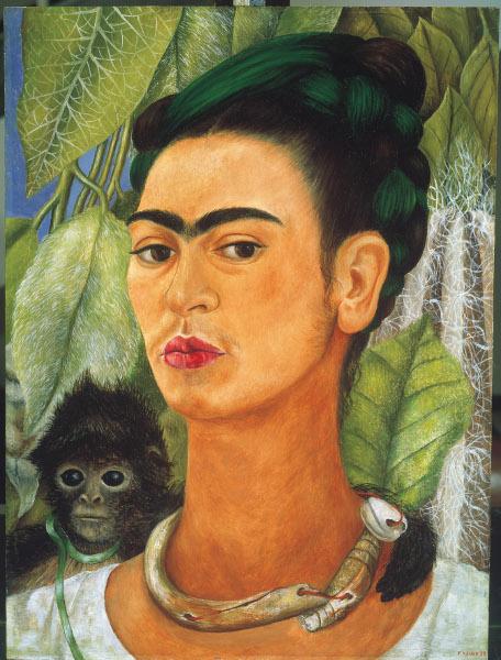 Frida Kahlo et Diego Rivera – L'Art en fusion : Autorretrato con changuito y collar (Autoportrait avec un petit singe et un collier), 1938, huile sur masonite, 40 x 30,5 cm, Buffalo, Albright-Knox Art Gallery © ADAGP, Paris 2013