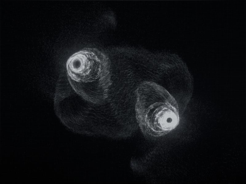 Melik Ohanian. Under shadows : Modelling Poetry - An Algorithm as a Screenplay (still), 2014 Algorithme en temps réel, écran LED, ordinateur 300 x 400 cm Courtesy de l'artiste et Galerie Chantal Crousel, Paris © Melik Ohanian / ADAGP