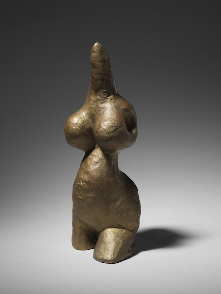 Préhistoire, une énigme moderne : Louise Bourgeois Harmless Woman, 1969 Bronze, gold patina, 28,3 x 11,5 x 11,5 cm Collection The Easton Foundation © The Eaton Foundation / ADAGP, Paris 2019 Photo : Christopher Burke