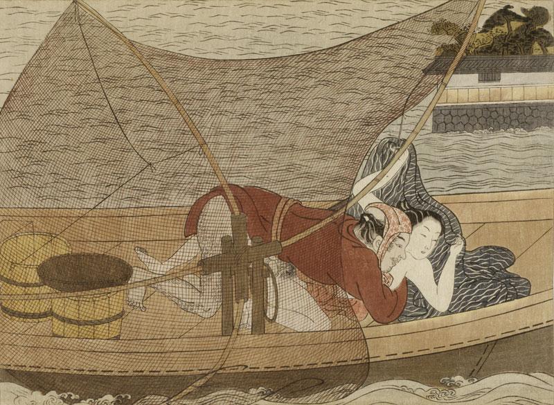 Miroir du désir - Images de femmes dans l'estampe japonaise : Suzuki Harunobu (vers 1725-1770) Dans la barque Époque d'Edo © RMN-Grand Palais (musée Guimet, Paris) / Thierry Ollivier