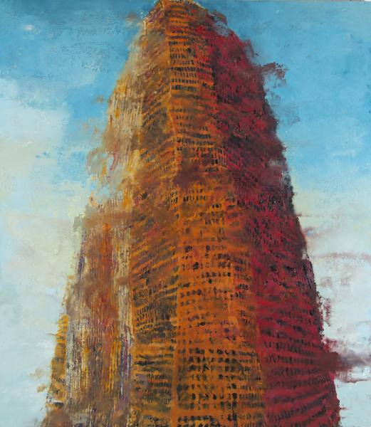 Philippe Cognée. Crowds : Philippe Cognée. Tower of Babel 2. 2016, peinture à la cire sur toile, 175x153cm. Photo B. Huet-Tutti. Courtesy Galerie Daniel Templon, Paris et Bruxelles.