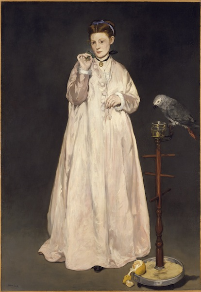 L'impressionnisme et la mode : Édouard Manet, Jeune dame en 1866, dite aussi la femme au perroquet, 1866, Huile sur toile, 185,1 x 128,6 cm New York, The Metropolitan Museum of Art, don d'Erwin Davis, 1889 © The Metropolitan Museum of Art, Dist. RMN / image of the MMA