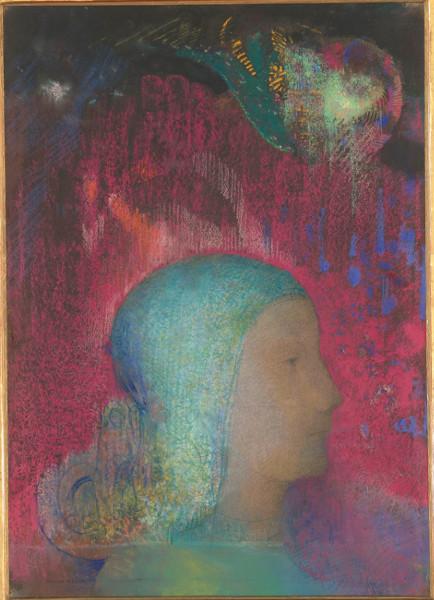 Les Archives du rêve – Dessins du musée d'Orsay. Carte blanche à Werner Spies : Odilon Redon, Jeanne d'Arc : la tête seule, de profil à droite, avant 1903, Pastel, graphite sur papier vélin chamois, 52,7 x 37,9 cm Paris, Musée d'Orsay © Musée d'Orsay (dist RMN-GP) / Patrice Schmidt