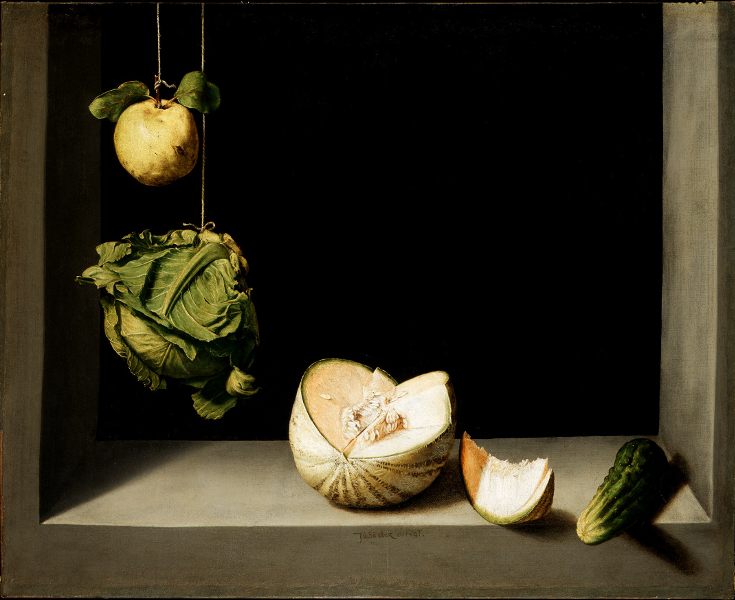 Natures mortes espagnoles - BOZAR : Juan Sánchez Cotán, Quince, Cabbage, Melon and Cucumber  Ca. 1602 San Diego, gift of Anne R. and Amy Putnam © The San Diego Museum of Art