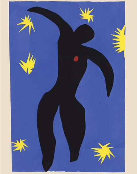 Henri Matisse. Rhythm & Meaning : Henri Matisse, Jazz. Paris, Tériade, 1947. Planches au pochoir. Pl. VIII. Icare. Donation Alice Tériade, 2000.Musée départemental Matisse, Le Cateau-Cambrésis © Succession H. Matisse 2016. Photo Philip Bernard