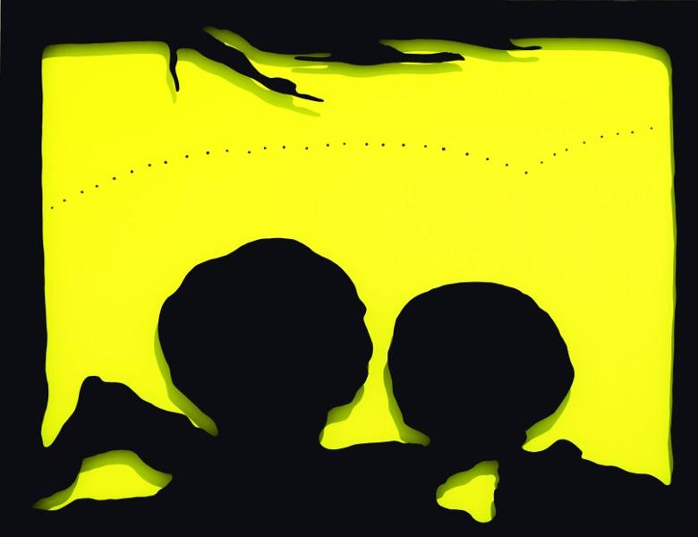 Lucio Fontana – Rétrospective : Concetto spaziale, Teatrino(Concept spatial, Teatrino), 1965, huile sur toile et bois laqué, collection Musées Royaux des Beaux-Arts de  Belgique, Bruxelles  © Musées royaux des Beaux-Arts de Belgique,  Bruxelles/photo: J. Geleyns/Ro scan  © Lucio Fontana