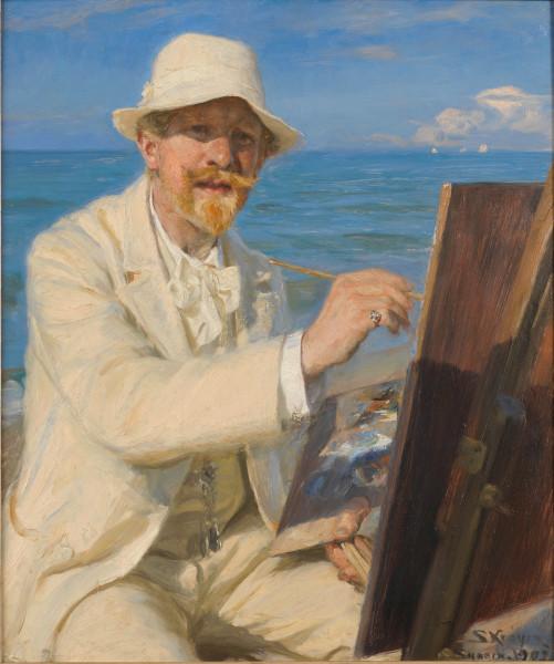 L'Heure bleue de Peder Severin Krøyer : . Peder Severin Krøyer Autoportrait au chevalet 1902 - Huile sur toile - 54 × 45 cm Collection de l'Ambassadeur John L.Loeb Jr. © Bill Orcutt