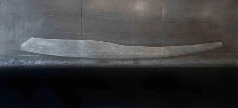 Aliska Lahusen – Laques et Plombs : Lithra Barque-2008, 153x336 cm. Huile sur plomb.