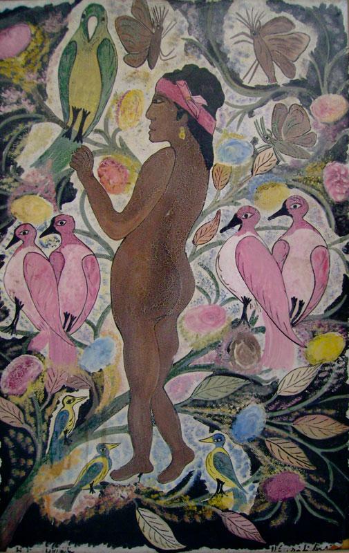 Les musées sont des mondes : Hector Hyppolite, Femmes aux oiseaux, Musée d'Art Haïtien du Collège Saint-Pierre, Port-au-Prince, Haïti. © Benjamin Hémar