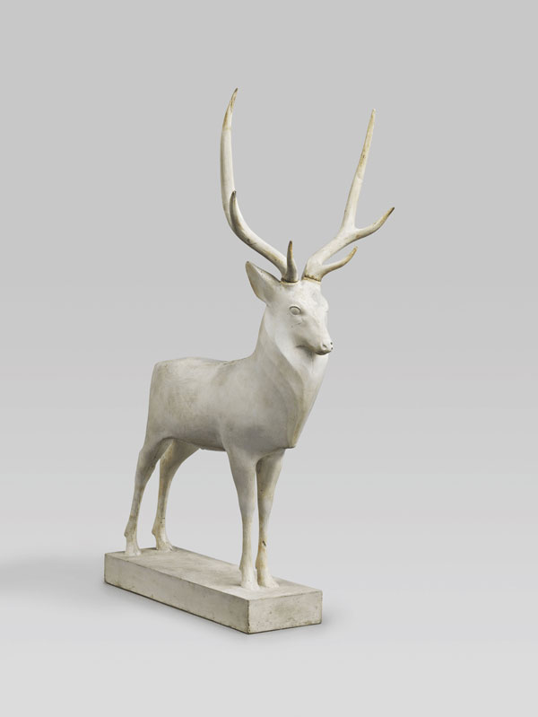 100 sculptures animalières : FRANÇOIS POMPON, Grand cerf. 1929 plâtre 62,5×23×41cm Paris, musée d'Orsay legs de l'artiste à l'État, 1933 INV. RF 3780