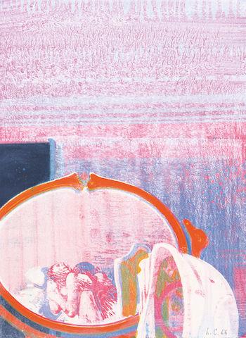 Leonardo Cremonini. Huis clos. : ©Gli amanti (épreuve d'état I), 1966 Lithographie 39,5 x 27,8 cm