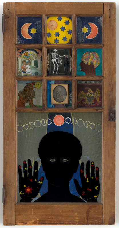 Betye Saar. The Legends of Black Girl's Window : Betye Saar. Black Girl's Window. 1969. Wooden window frame with paint, cut-and-pasted printed and painted papers, daguerreotype, lenticular print, and plastic figurine, 35 3/4 × 18 × 1 1/2? (90.8 × 45.7 × 3.8 cm). The Museum of Modern Art, New York. Gift