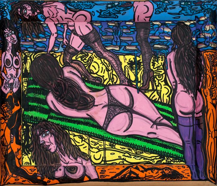 Robert Combas – Geneviève de toutes les couleurs : LESNUESSONTTOUJOURSLAMÊME 1989 Peinturechâssis,Acryliquesurtoileetbois,76x88,5 Crédit©L'atelierdeRobertCombas