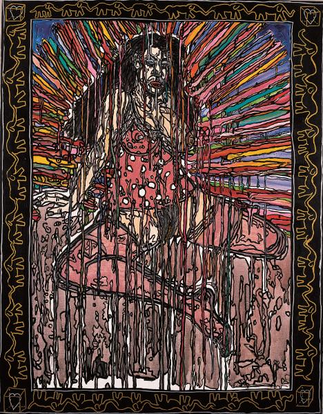 Robert Combas – Geneviève de toutes les couleurs : L'ICÔNEOSTENSOIR 1990 Peinturechâssis,Acryliquesurtoile,145,5x113,5 Crédit©L'atelierdeRobertCombas