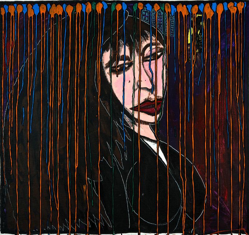 Robert Combas – Geneviève de toutes les couleurs : FEMMEMÉLANCOLIQUE 1994 Peinturechâssis,Acryliquesurtoile,100,5x107 Crédit©L'atelierdeRobertCombas