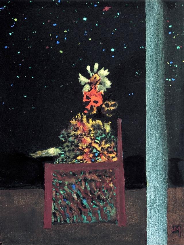 Peindre la nuit : Henri Michaux, Le Prince de la nuit, 1937 Gouache et aquarelle sur papier noir, 32,3 x 24,5 cm Paris, Centre Pompidou, Musée national d'art moderne © Adagp, Paris 2018 Photo © Centre Pompidou, MNAM-CCI, Dist. RMN-GP / Philippe Migeat