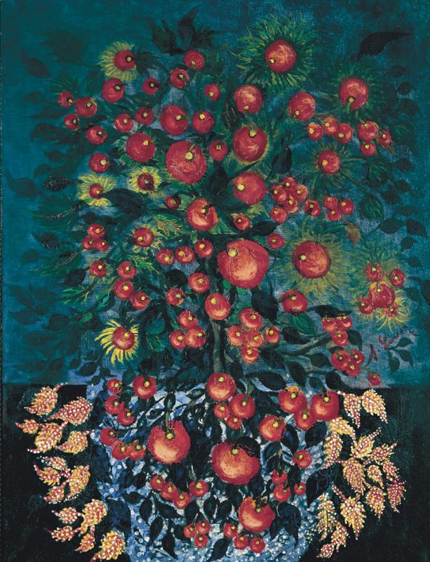 Du Douanier Rousseau à Séraphine. Les grands maîtres naïfs : Séraphine Louis, Pommes aux feuilles, 1929-1930, huile sur toile, 81 x 60 cm, Courtesy galerie Dina Vierny