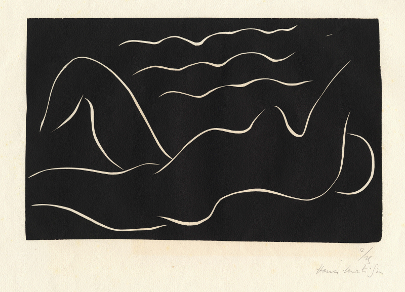 Matisse et la gravure: l'autre instrument : Henri Matisse Nu dans les ondes, 1938 Linogravure 22.1 x 35 cm sur vélin G. Maillol 40 x 60.5 cm Planche 251, Éd. 2/25 Collection privée ©Succession H. Matisse, 2015 Photo : Archives Henri Matisse