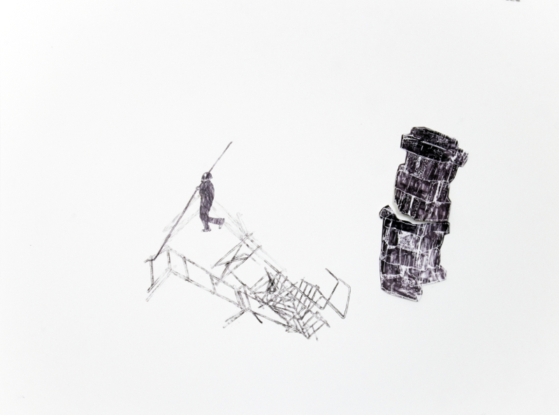 Catherine Melin : Sans-titre12, 2014, technique mixte sur papier, 46 x 61 cm