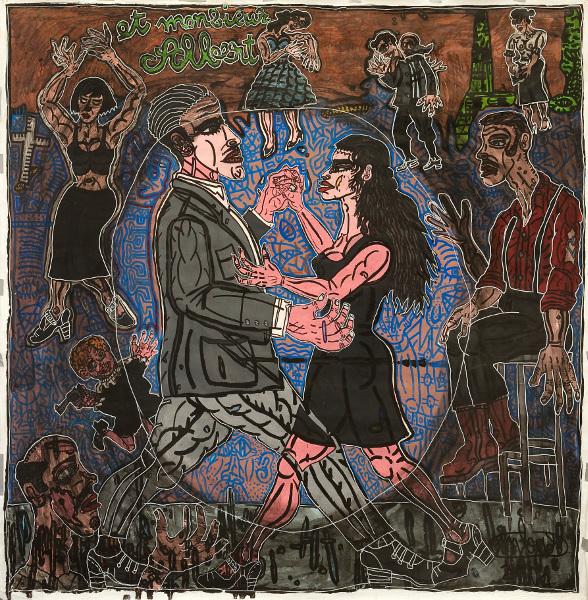 Robert Combas – Geneviève de toutes les couleurs : LEGLOBE 2007 Peinturerouleau,Acryliquesurtoile,235x235 Crédit©L'atelierdeRobertCombas