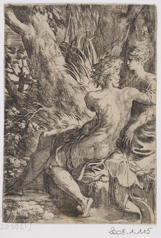 De Dürer à Mantegna, Gravures Renaissance de la collection Leber. : Le Parmesan, Les Deux amants, Vers 1527-1528, © Orléans, musée des Beaux-Arts, clichés François Lauginie