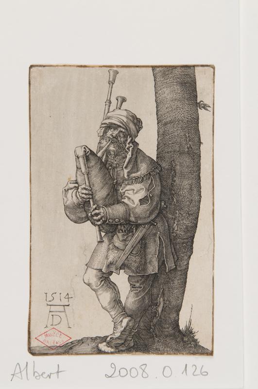 De Dürer à Mantegna, Gravures Renaissance de la collection Leber. : Albrecht Dürer, Le Joueur de cornemuse, 1514, © Orléans, musée des Beaux-Arts, clichés François Lauginie