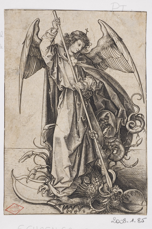 De Dürer à Mantegna, Gravures Renaissance de la collection Leber. : Martin Schongauer, Saint Michel, Vers 1485-1491, © Orléans, musée des Beaux-Arts, clichés François Lauginie