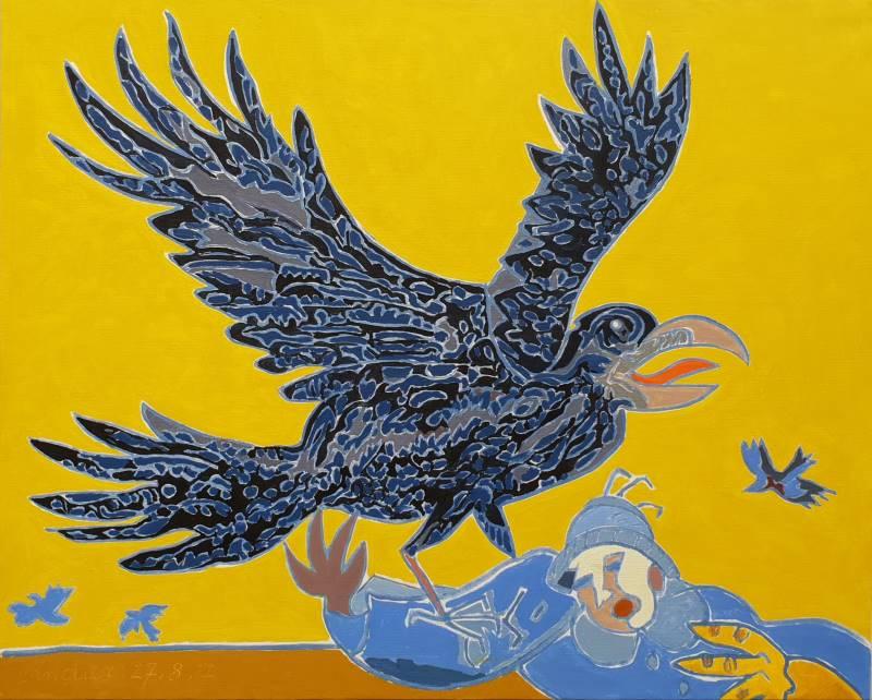Henri Landier. Requiem pour les Barthélemy : Le corbeau, huile 2017 - 81x100 cm