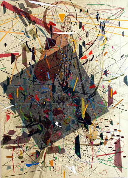 L'Iris de Lucy. Artistes africaines contemporaines : JULIE MEHRETU Zéro Canyon (A dissimulation) 2006 Encre et acrylique sur toile 305 x 214 cm Collection MUSAC