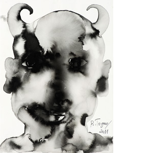 Barthélémy Toguo - Talking to the moon : Devil Heads V, 2011. Encre de Chine sur papier. 38 x 28 cm . Courtesy Galerie Lelong & Bandjoun Station / Photo Fabrice Gibert