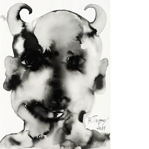 Barthélémy Toguo - Talking to the moon : Devil Heads V, 2011. Encre de Chine sur papier. 38 x 28 cm . Courtesy Galerie Lelong & Bandjoun Station / Photo Fabrice Gibert
