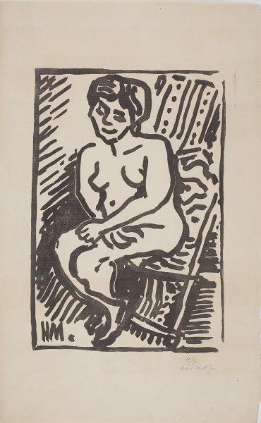 Matisse et la gravure: l'autre instrument : Henri Matisse Petit Bois noir, 1906 Gravure sur bois 31.1 x 21.2 cm sur vélin Van Gelder 46 x 28.5 cm Éd. 49/50 Collection privée ©Succession H. Matisse, 2015 Photo : Archives Henri Matisse