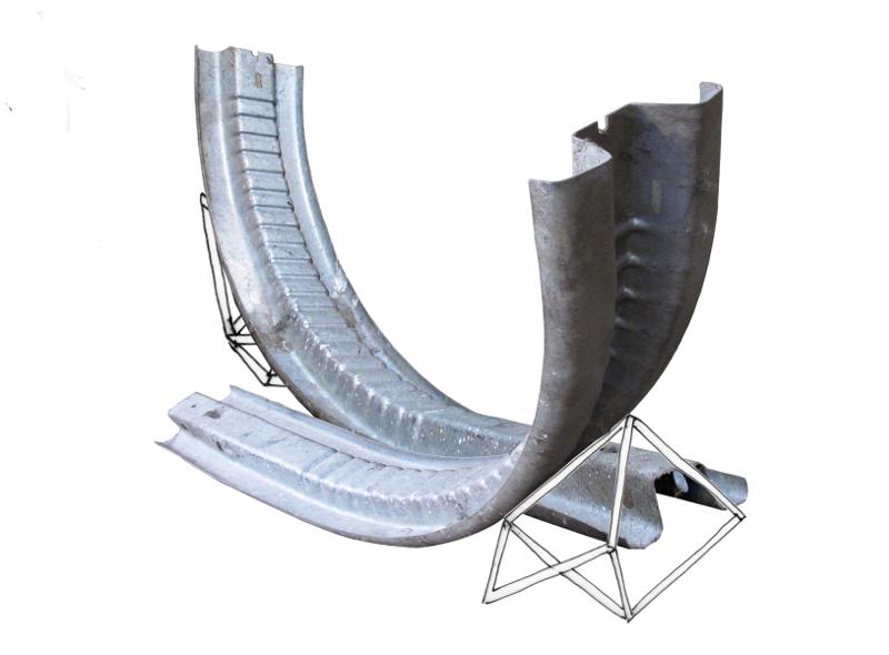 Catherine Melin : glissieres de securite et structure en acier, 2014, 180 x 150 cm