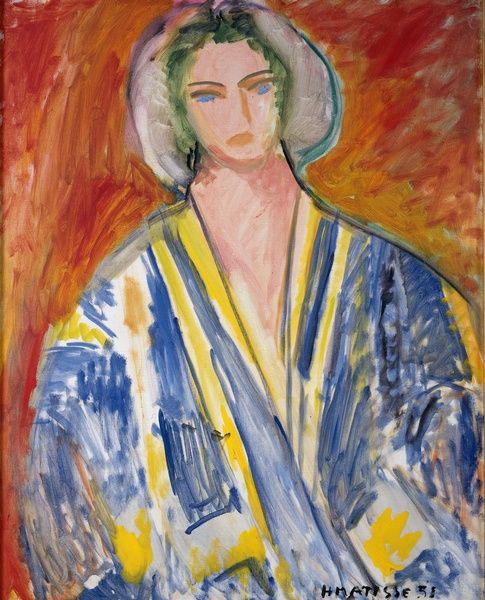 Henri Matisse. Rhythm & Meaning : Femme à la gandoura bleue (Woman with a Blue Gandoura), 1951.Oil on canvas, 81 X 65 cm. Musée Départemental Matisse. Le Cateau-Cambrésis. © Succession H. Matisse 2016