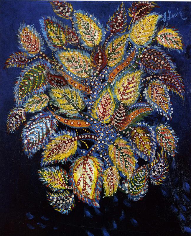 Du Douanier Rousseau à Séraphine. Les grands maîtres naïfs : Séraphine Louis, Feuilles diaprées sur fond bleu, 1929, huile sur toile, 55 x 46 cm, collection particulière