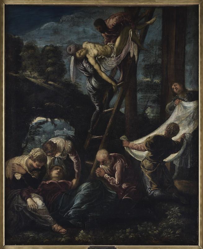 Cézanne et les maîtres. Rêve d'Italie : Jacopo Robusti, dit le Tintoret, La Descente de croix, 1580, Huile sur toile, 116 × 92 cm, Strasbourg, musée des Beaux-Arts © Photo Musées de Strasbourg, M. Bertola