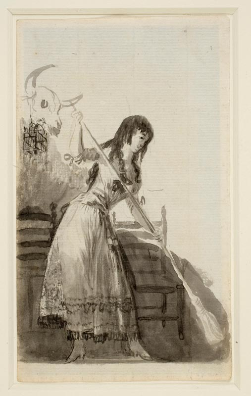 Goya et plus : Young Woman Standing, Tearing out her Hair (recto) / Young Woman Sweeping (verso) Francisco de Goya y Lucientes Watercolour, Indian ink, brush on paper, 172 x 101 mm 1794 - 1795 Acquired by the Ministry of Culture, assigned to the Museo Nacional del Prado