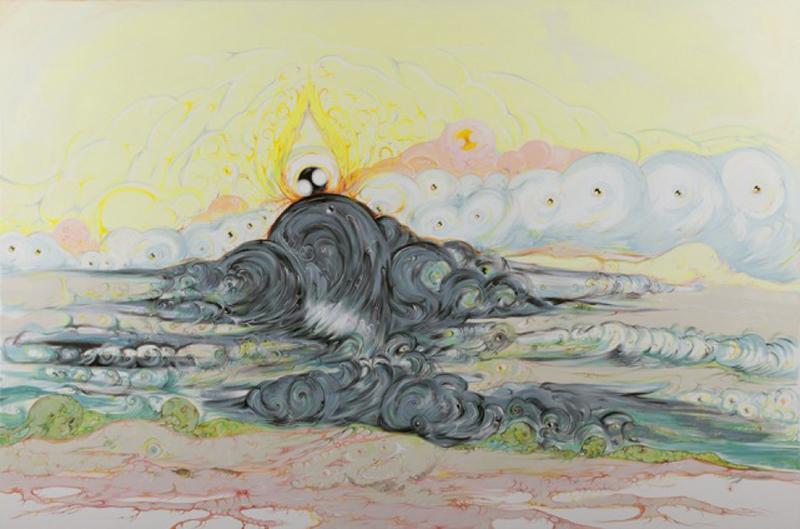 Vidya Gastaldon. Les rescapés :  Être dans ce qui s'en va, 2011  Acrylique et huile sur toile  120 x 180 cm  Collection de l'artiste  © Courtesy Vidya Gastaldon et Art Bärtschi & Cie
