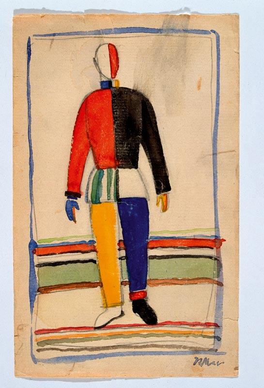 L'abstraction en Europe : Kazimir MALÉVITCH, Sportsman, 1923, Crayon et aquarelle sur papier ; 25,2 x 15,2 cm, © tous droits réservés