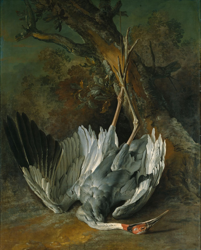 La beauté et la mort : Jean-Baptiste Oudry, Grue morte, vers 1745, huile sur toile, 162 x 127,5 cm © bpk | Staatliches Museum Schwerin (Photo : Elke Walford)