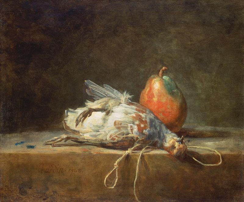 La beauté et la mort : Jean Siméon Chardin, Perdrix morte, poire et collet sur une table de pierre, 1748, huile sur toile, 39 x 46,5 cm, Städel Museum, Francfort, Photo : Arthothek