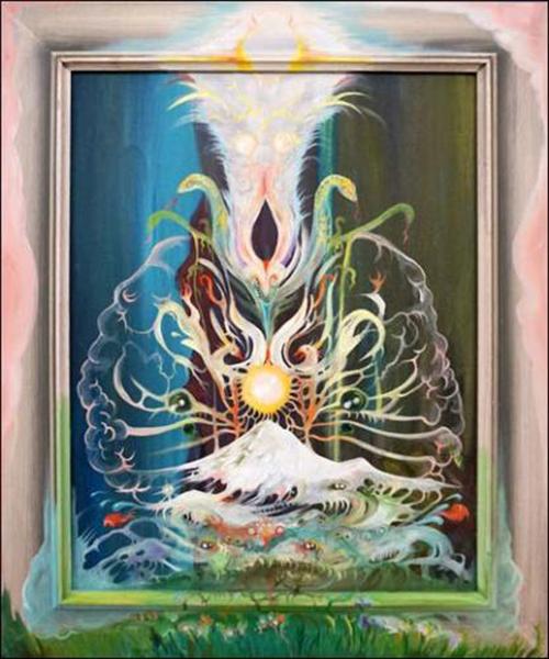Vidya Gastaldon. Les rescapés :  Healing Painting (Acapulco Brain), 2016  Huile sur tableau trouvé  58 x 48 cm  Courtesy galerie Art : Concept, Paris  © Claire Dorn