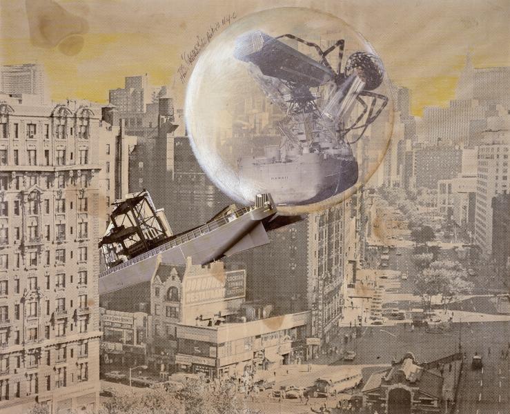 Aerodream. Architecture, design et structures gonflables. : Klaus Pinter, The Cocoon, 1971 Photomontage composé d'un tirage offset, de tirages argentiques, de zip, rehausssés de crayons de couleur, 51,5 x 63,5 cm © Adagp, Paris, 2020 © Photo Centre Pompidou, MNAM-CCI / Georges Meguerditchian/Dist. RMN-GP