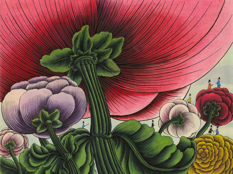 Alain le Foll - Maître de l'imaginaire : Alain Le Foll. Dessin pour C'est le bouquet de Claude Roy, 1964. Encre, 28,2 x 33,8 cm (Collection particulière) © succession A. Le Foll © Mirela Popa