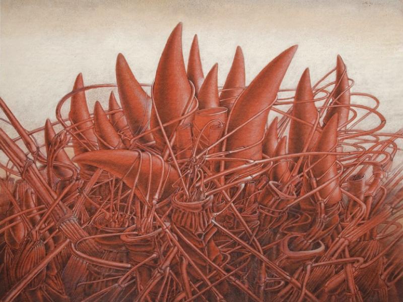 Alain le Foll - Maître de l'imaginaire : Alain Le Foll. Tumulte, 1973. Encre, crayon, pastel, gouache sur papier rouge, 49,5 x 64,8 cm (Collection particulière) © succession A. Le Foll© Mirela Popa