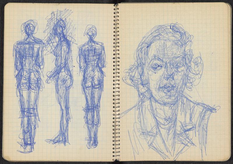 Histoire de corps. Le nu dans l'œuvre d'Alberto Giacometti : Alberto Giacometti. Carnet vers 1963 14,7 x 10,9 cm (carnet fermé) ©Succession Alberto Giacometti(Fondation Giacometti, Paris +ADAGP, Paris) 2019