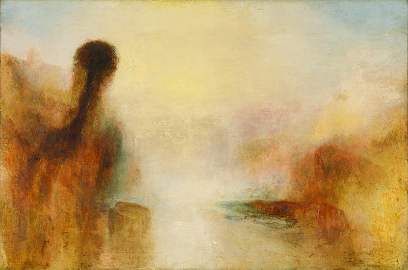 La Peinture anglaise, de Turner à Whistler. : Joseph Mallord William Turner Landscape with Water, 1840-1845 huile sur toile, 121,9 x 182,2 cm Tate, accepted by the nation as part of the Turner Bequest 1856 © Tate, Londres 2019