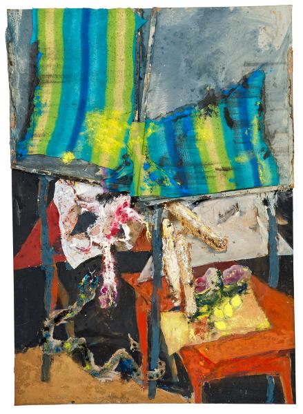 Rebeyrolle, le pouvoir de la peinture : Etal aux tentures, Antanety la colline, 2000, Série Madagascar, peinture sur toile, 296 x 215cm, © Espace Paul Rebeyrolle adagp 2013, photo : Jean-Christophe Dupuy