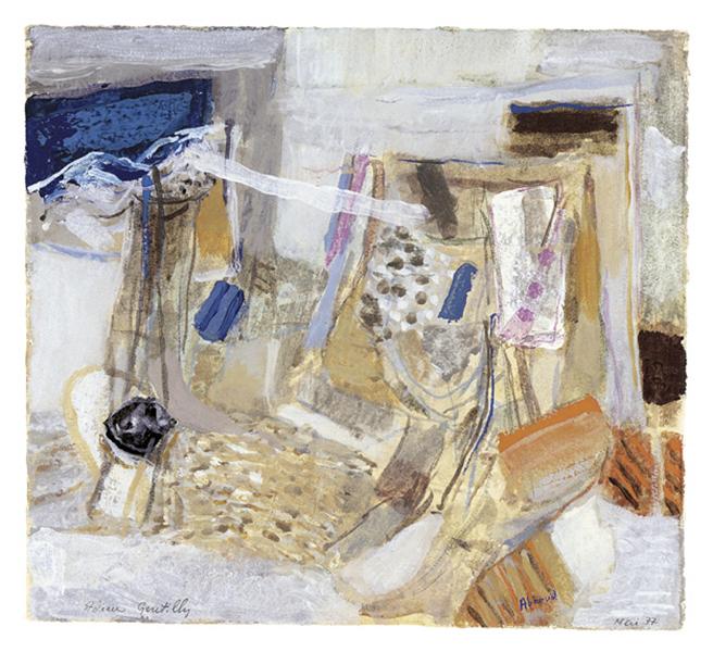 À la plume, au pinceau, au crayon. Dessins du monde arabe : Abboud Dessin. Adieu Gentilly, 1977. Tempera sur carton 26 x 29 cm.