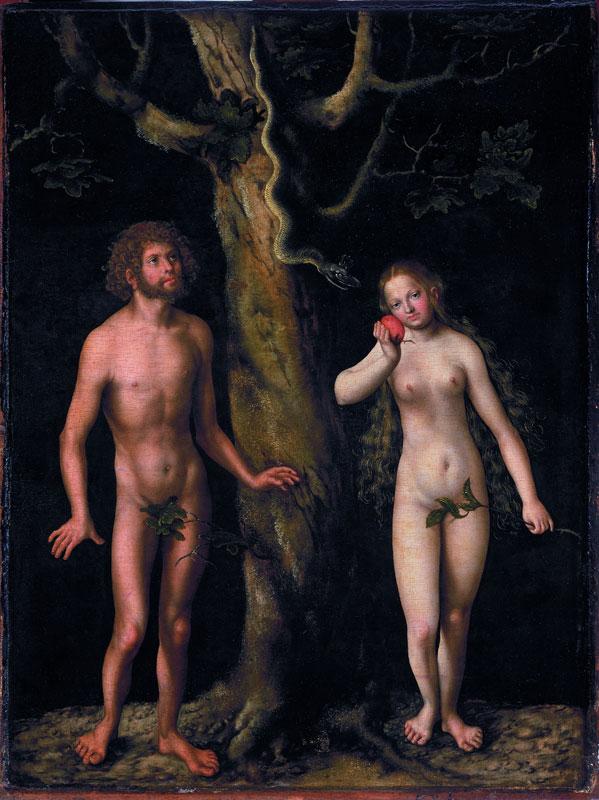 Cranach et son temps : Lucas Cranach l'Ancien Adam et Eve vers 1510 tempera et huile sur bois, 58 x 44 cm Varsovie, Museum Narodowe w Warzawie © Museum Narodowe w Warzawie